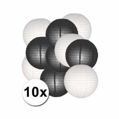 Feestartikelen lampionnen zwart/witte 10x