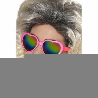 Feestartikelen roze bril met hartjesglazen
