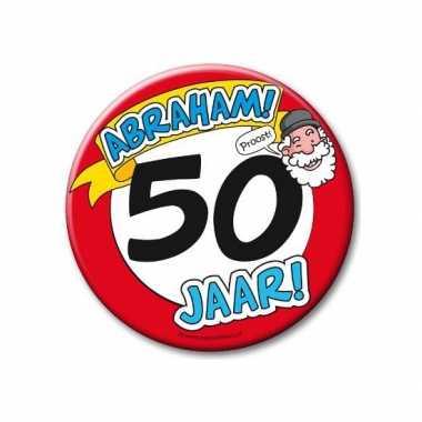 Feestartikelen xxl 50 jaar verjaardags abraham button