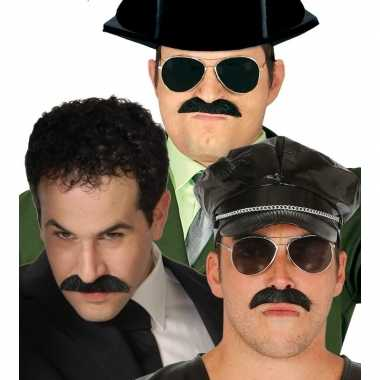 Feestartikelen zwarte snor voor heren