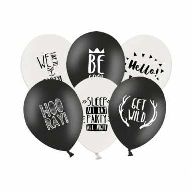Feestballonnen zwart en wit 12 stuks