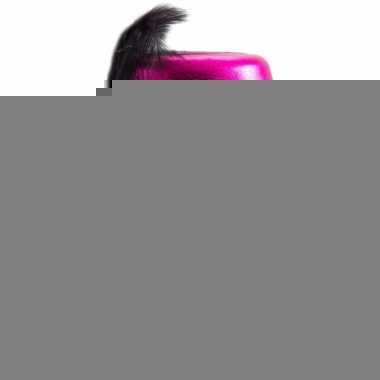 Feesthoedje roze met zwart
