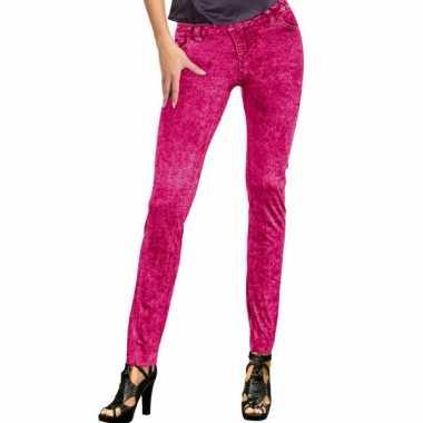 Feestkleding jeans legging neon roze
