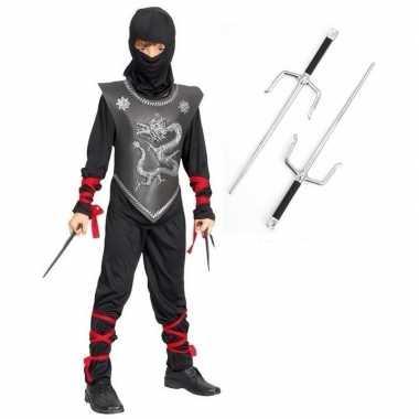 Feestkleding ninja met dolkenset maat m voor kinderen
