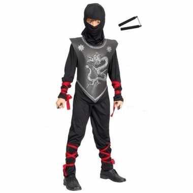 Feestkleding ninja met vechtstokjes maat s voor kinderen