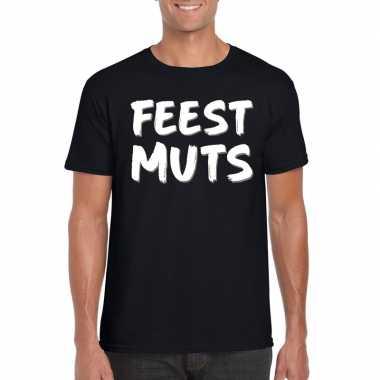 Feestmuts tekst t-shirt zwart heren