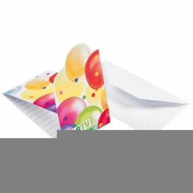 Feestuitnodigingen met ballonnen opdruk karton 8st