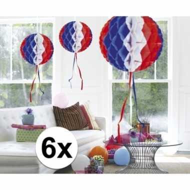 Feestversiering blauw wit rood decoratie bollen 30 cm set van 3