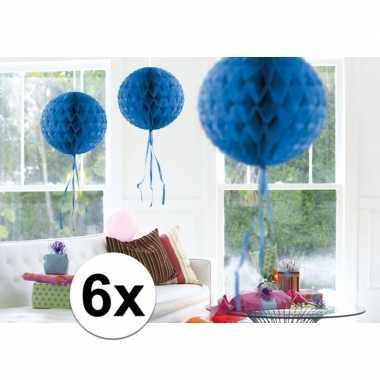 Feestversiering blauwe decoratie bollen 30 cm set van 3