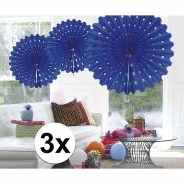 Feestversiering blauwe decoratie waaier 45 cm drie stuks