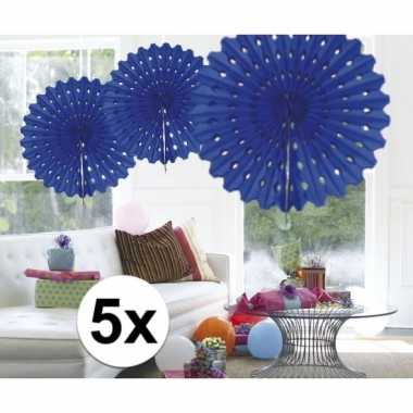 Feestversiering blauwe decoratie waaier 45 cm vijf stuks