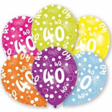 Feestversiering gekleurde ballonnen 40 jaar 6 stuks