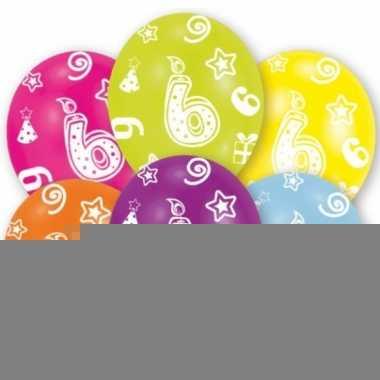 Feestversiering gekleurde ballonnen 6 jaar 6 stuks
