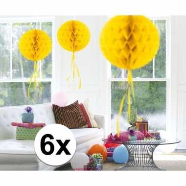 Feestversiering gele decoratie bollen 30 cm set van 3