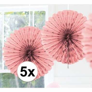 Feestversiering licht roze decoratie waaier 45 cm vijf stuks