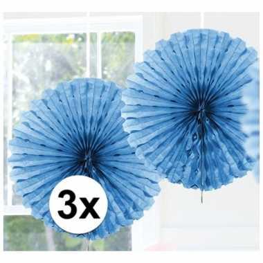 Feestversiering lichtblauwe decoratie waaier 45 cm drie stuks