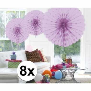 Feestversiering lila decoratie waaier 45 cm acht stuks