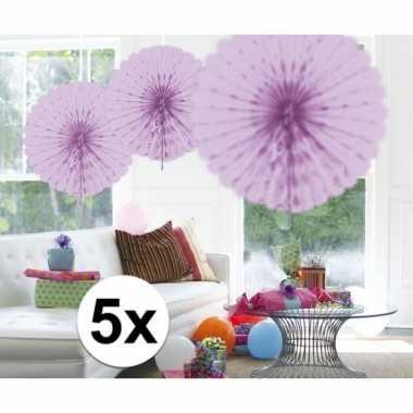 Feestversiering lila decoratie waaier 45 cm vijf stuks