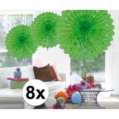 Feestversiering lime groen decoratie waaier 45 cm acht stuks
