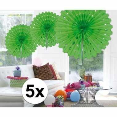 Feestversiering lime groen decoratie waaier 45 cm vijf stuks