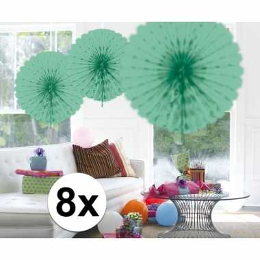 Feestversiering mint groene decoratie waaier 45 cm acht stuks