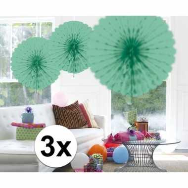 Feestversiering mint groene decoratie waaier 45 cm drie stuks