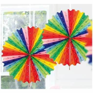Feestversiering regenboog kleuren decoratie waaier 45 cm