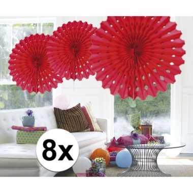 Feestversiering rode decoratie waaier 45 cm acht stuks