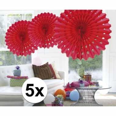 Feestversiering rode decoratie waaier 45 cm vijf stuks