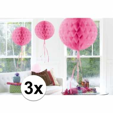 Feestversiering roze decoratie bollen 30 cm set van 3