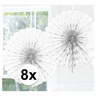 Feestversiering witte decoratie waaier 45 cm acht stuks