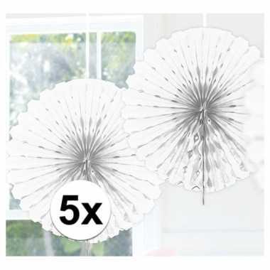 Feestversiering witte decoratie waaier 45 cm vijf stuks