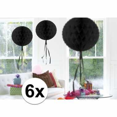 Feestversiering zwart decoratie bollen 30 cm 6 stuks