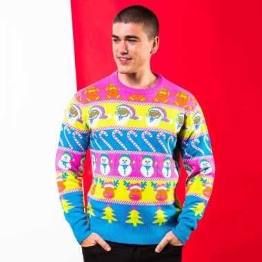 Fel gekleurde kerst trui voor heren