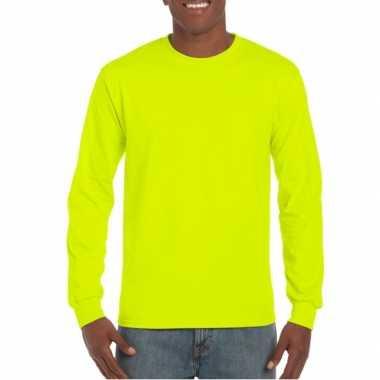 Fel gele t-shirts lange mouwen top kwaliteit
