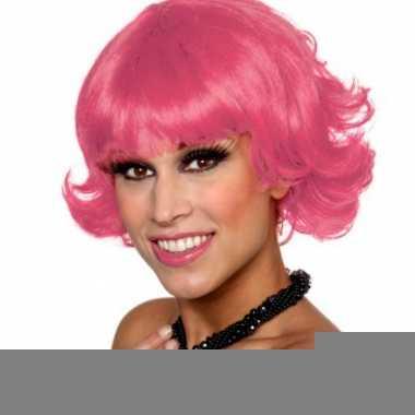 Fel roze dames pruik