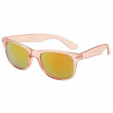 Festival zonnebril roze met olie kleur glazen