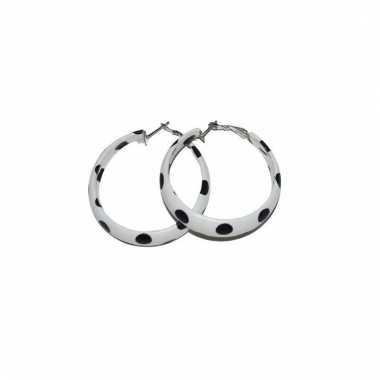 Fifties accessoires oorbellen wit/zwart