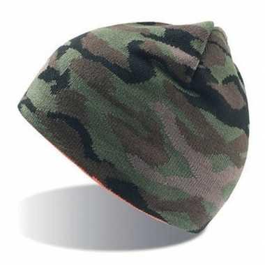 Fijngebreide camouflage muts voor volwassenen