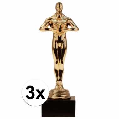 Filmthema award winnaars beeldjes 15 cm 3 stuks