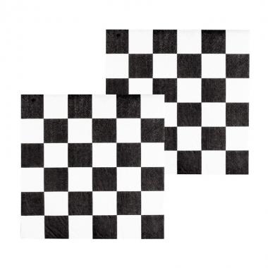 Finish servetten zwart/wit geblokt 12 stuks