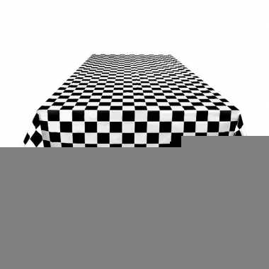 Finish tafelkleed zwart/wit geblokt 130 x 180 cm