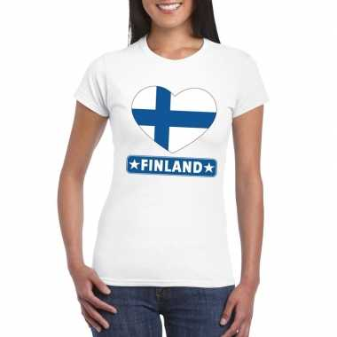 Finland hart vlag t-shirt wit dames