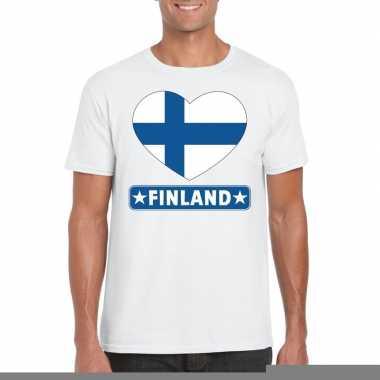 Finland hart vlag t-shirt wit heren