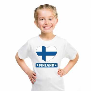 Finland hart vlag t-shirt wit jongens en meisjes