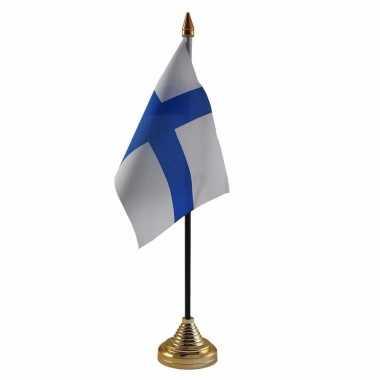 Finland tafelvlaggetje 10 x 15 cm met standaard