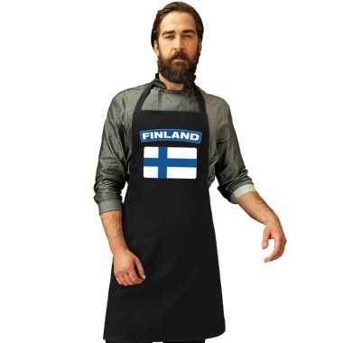 Finland vlag barbecueschort/ keukenschort zwart volwassenen