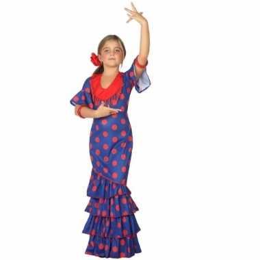 Flamenco danseres kostuum blauw met rood