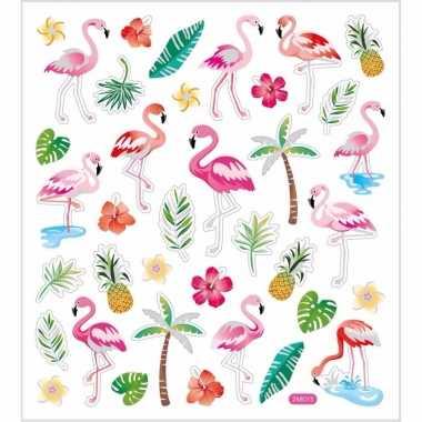 Flamingo stickers gekleurd 37 stuks
