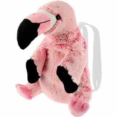 Flamingo vogels speelgoed artikelen rugtas/rugzak knuffelbeest roze 3